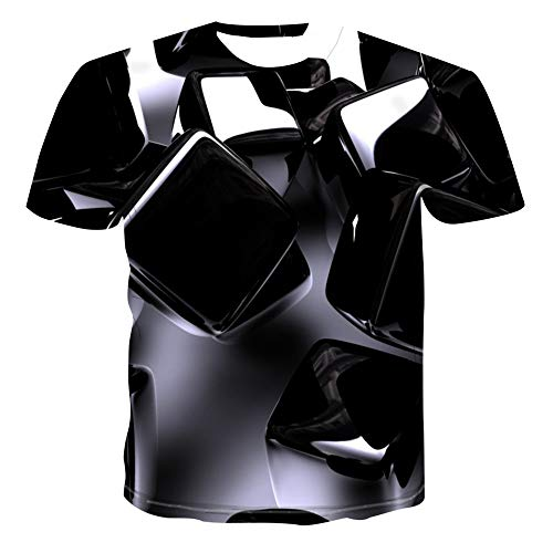 MIRANDA Camiseta de Manga Corta Suelta con Cuello Redondo y Estampado 3D para Hombre