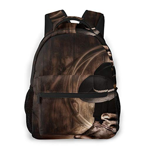 Multifunctional Casual Backpack,Fashion Trend Knapsack,Cute Backpack11.5 X 16'''' X 8''''-Vintage American Western Cowboy Hat and Boot 77