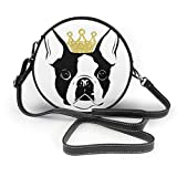 naotaori Bolso redondo mujer Women's Round PU Leather Crossbody Messenger Shoulder Bag Crown Boston Terrier Circle Tote Hobo Bag For Girls Sling Bag