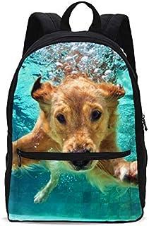 Underwater Dog Girls Backpacks School kids Bookbag Children Travel Shoulder Bag Casual Daypack 17 Inch Plus Laptop Bag for Unisex Teens Women Boys