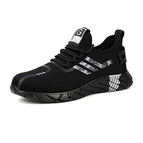 HEWXWX 2020 Nuevos Zapatos de Seguridad Botas, Disponibles para Toda la Temporada con Puntera de Acero Botas de Hombre duraderas Zapatos de Trabajo indestructibles Trabajo Unisex,E-EU43