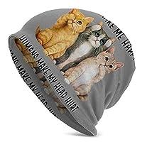 猫は私を幸せにします Cats Make Me Happy ニット帽 メンズ ビーニー Beanie 春夏秋冬 目出し帽 通気性 キャップ 日よけ 外出 帽子 ストレッチ性 ヘッドカバー 軽量 スポーツ Hat 男女兼用 キャップ