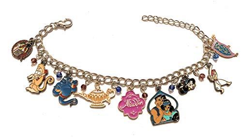 giulyscreations Aladdin - Bracelet en métal sans nickel avec dessins animés Jasmine Genio Abu Jafar - Lampe pour volant, princesse, animal, pop, cosplay,
