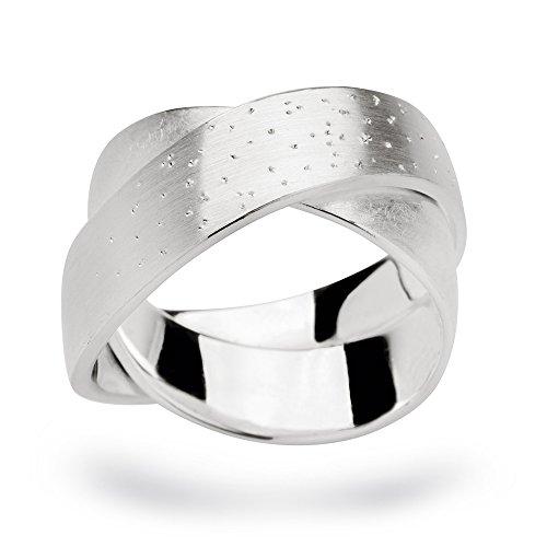 Mattierter Doppel-Ring mit Diamantierung. Gr.54