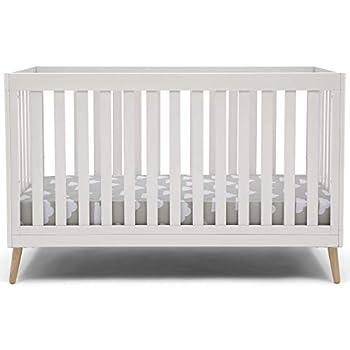 Delta Children Essex 4-in-1 Convertible Baby Crib Bianca White with Natural Legs