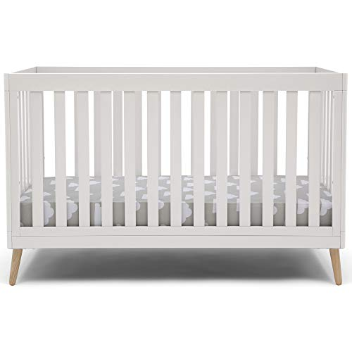 Delta Children Essex 4-in-1 Convertible Baby Crib, Bianca White with Natural Legs