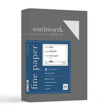 Southworth 25% Cotton Granite Specialty Paper 8.5  x 11  24 lb/90 GSM Gray 500 Sheets - Packaging May Vary  914C
