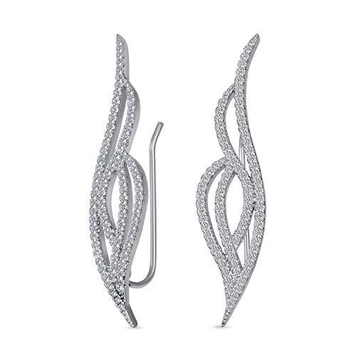 Braut Zirkonia Pflaster Cz Wave Crawler Sohr Pin Knorpel Kletterer Statement Ohrringe Für Frauen 925 Sterling Silber
