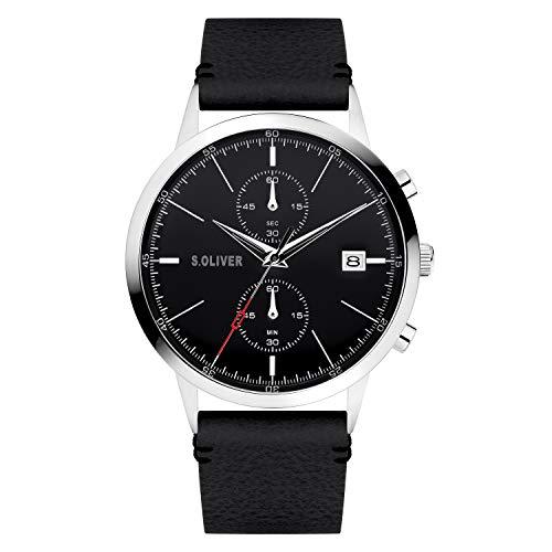 s.Oliver Herren Analog Analogquarz Uhr mit Kunstleder Armband SO-4124-LC