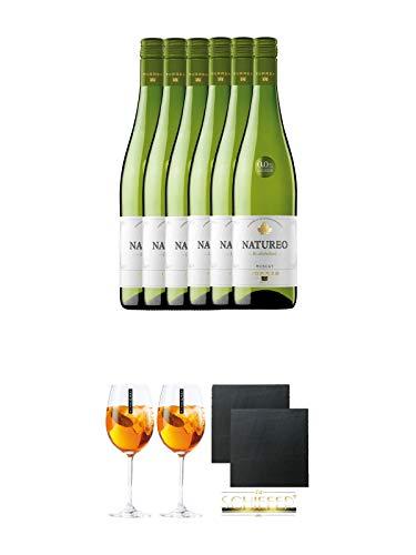 Torres Miguel Spanien NATUREO Alkoholfrei WEISS Wein 6 x 0,75 Liter + Scavi & Ray Wein Glas 2 Stück + Schiefer Glasuntersetzer eckig ca. 9,5 cm Ø 2 Stück