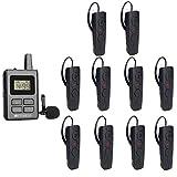 Retekess TT108 Guía Turística Inalámbrica Sistema de Frecuencia Guía Universal Micrófono Ampliamente Utilizado en Fábricas Reuniones Gubernamentales Logística Almacén (1 Transmisor y 10 Receptores)