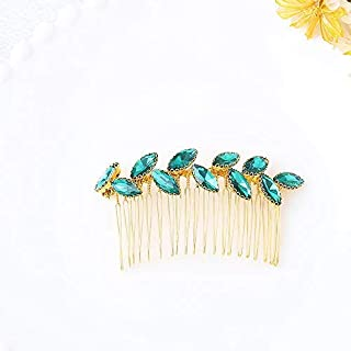 Jovono Bride Wedding Hair Comb Bridal Headpieces with Green Rhinestone for Women and Girls (Gold) [並行輸入品]