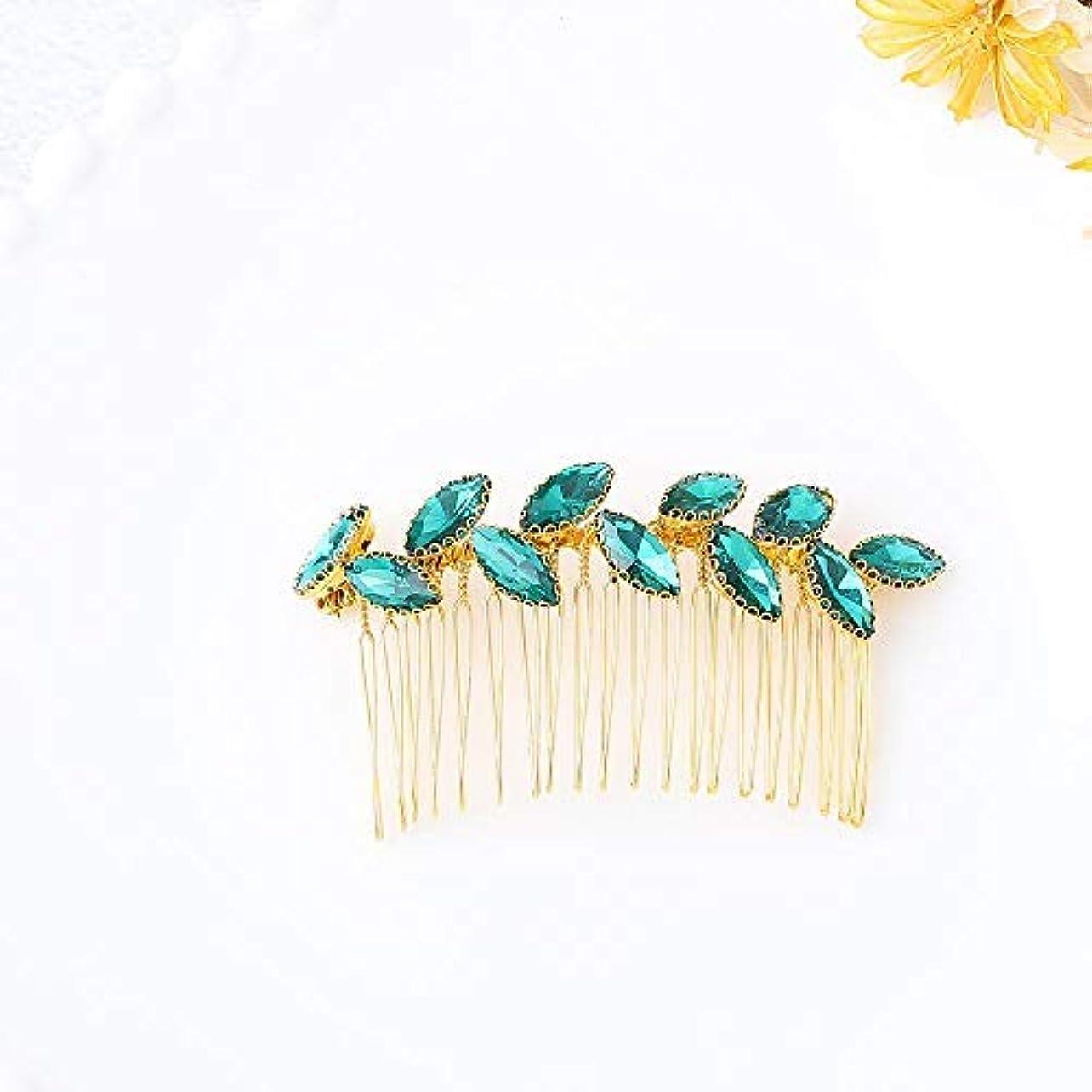 記念日手伝う疾患Jovono Bride Wedding Hair Comb Bridal Headpieces with Green Rhinestone for Women and Girls (Gold) [並行輸入品]