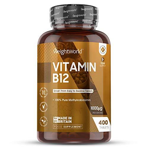 Vitamin B12 Tablets High Strength - 1000ug - 400 Vitamin B12 Tablets - Pure Hydroxycobalamin B12 Supplement for Men & Women, Immune Booster Health Pills, Natural Energy Boost, Brain Supplement, Vegan