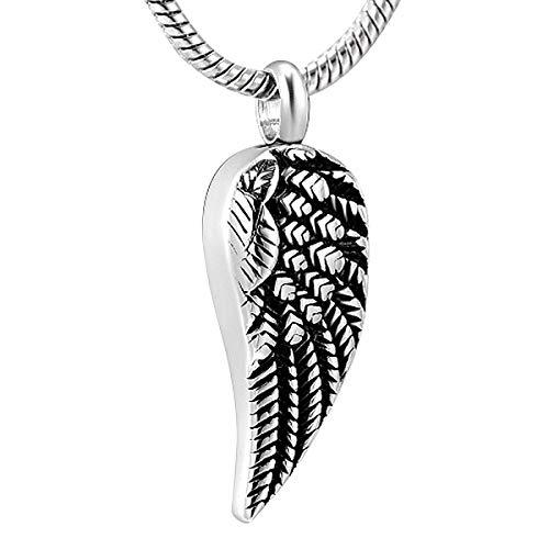 rmdfz Collar de Tarro de cremación Urna de ala de joyería de cremación de Acero Inoxidable para Cenizas de Mascotas humanas Unisex Colgante conmemorativo Titular de Cenizas de Recuerdo