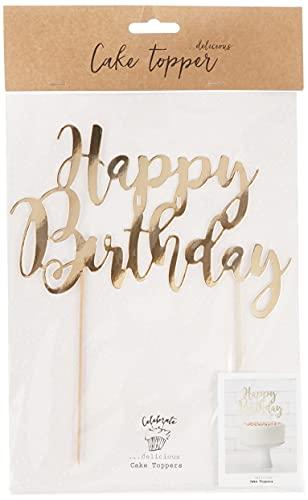 """Cake Topper \""""Happy Birthday\"""" gold Torte Kuchen"""
