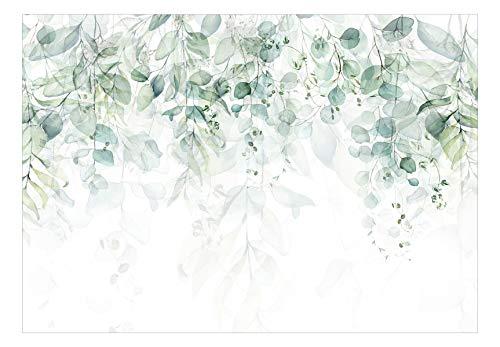 murando Fototapete grüne Blätter 350x256 cm Vlies Tapeten Wandtapete XXL Moderne Wanddeko Design Wand Dekoration Wohnzimmer Schlafzimmer Büro Flur Efeu Natur Pflanzen wie gemalt b-C-0615-a-b