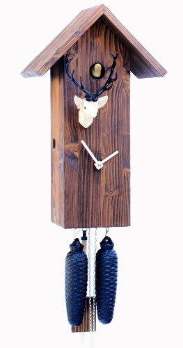 Rombach & Haas Moderne Kuckucksuhr Vogelhaus Simple Line gebürstetes Massivholz blau 8-Tagewerk 41 cm