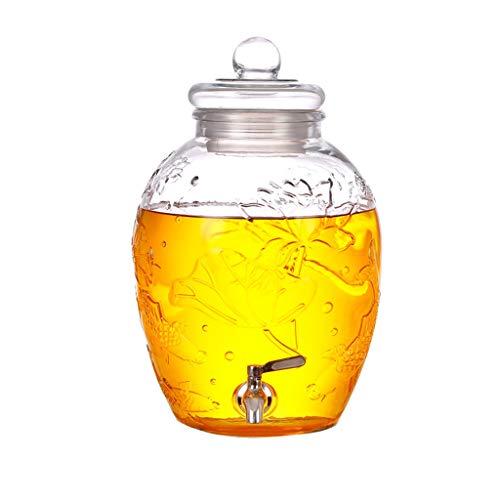 Getränkespender Sekt Glasflasche Haushaltswein Dosen Mit Wasserhahn Medizinische Gläser Verdickt Hochwertige Versiegelte Dosen XINYALAMP (Color : A, Size : 6L)