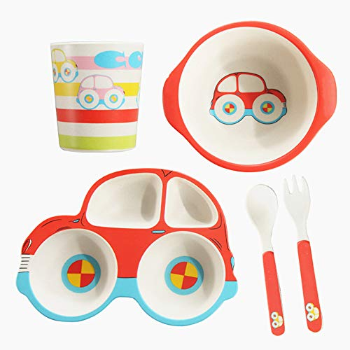 litthb 5-Piece Child and Toddler Tableware, Including Plates, Bowls, Cups, Forks and Spoons, Durable, Dishwasher Safe, BPA-Free, Suitable for Toddlers, Walker-red