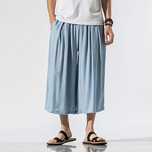 Pantalons lâches, Shorts de Plage de Sport d'été pour Hommes, Pantalons décontractés-Light_Blue_2XL