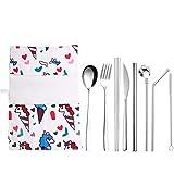 NEWRX Picknick Besteck Set 9pcs Gabel, Löffel, Messer-Set Besteck Edelstahl Geschirr mentales Stroh Einhorn Flamingo Nashorn Reise-Stoff-Tasche Stäbchen (Color : Unicorn Silver)