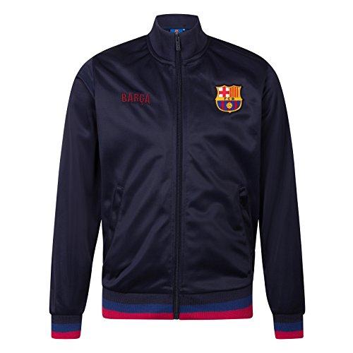 FC Barcelona - Jungen Trainingsjacke im Retro-Design - Offizielles Merchandise - Geschenk für Fußballfans - Marineblau, Barca - 8-9Jahre