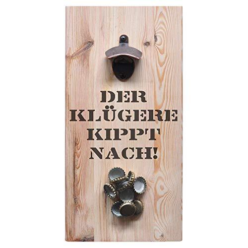 ultiMade - Wandflaschenöffner aus Kiefernholz mit starkem Magnet 40x20x1,8cm Flaschenöffner Geschenk für Männer Vatertagsgeschenk Bieröffner Biergeschenk Bar: Der klügere kippt nach