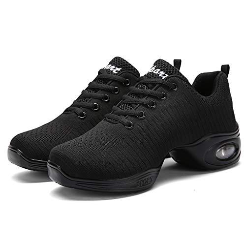 Zapatillas De Baile Moderno Mujer Running Casual Gimnasio Transpirables Antideslizante Al Aire Libre Zapatos Suaves Sneakers Negro Blanco 35-41 (39, Negro)