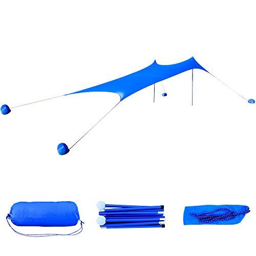 GEERTOP Strandmuscheln Sonnensegel Tarp Windbeständiges Vordach mit UPF 50+ Sonnenschutz Große Plane mit 4 Sandsäcken als Anker (270 x 270 cm)