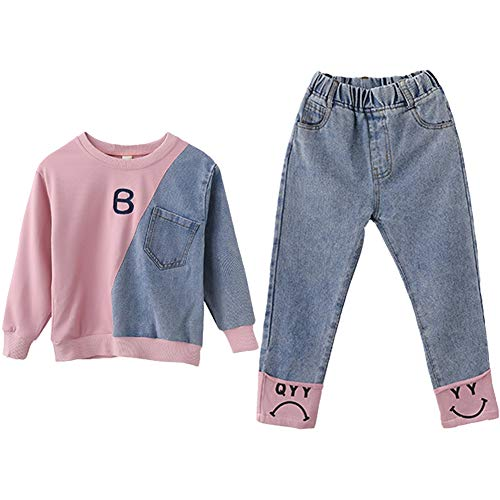 SXSHUN Kids Hoodie Long Sleeve Multi-color Casual Style Girls Sweatshirt with Simple Loose Girls Jeans 2pcs Set Kids Girls Outfit Set for 3-13 Years Old