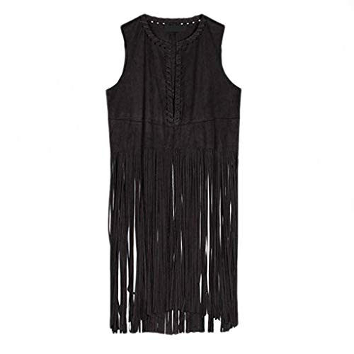 Lowest Prices! Women Fringe Vest Faux Suede Tassels 78s Hippie Costume Open Front Sleeveless Vest Ca...