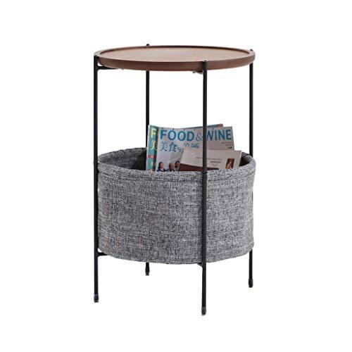 Atten Runder Couchtisch Industrie Holz Design Metallbeine mit Storage öffnen Regal for Wohnzimmer 40 * 40 * 60cm