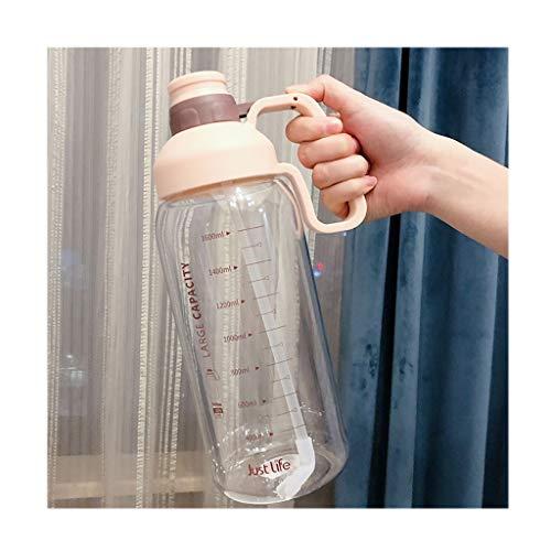 kerryshop Tetera 60,9 oz Botella Grande de Agua con la motivación Tiempo Marcador Recordatorio, Botellas Deportivas portátiles con Paja-Durable, Actividad al Aire Libre Tetera Eléctrica (Color : A)