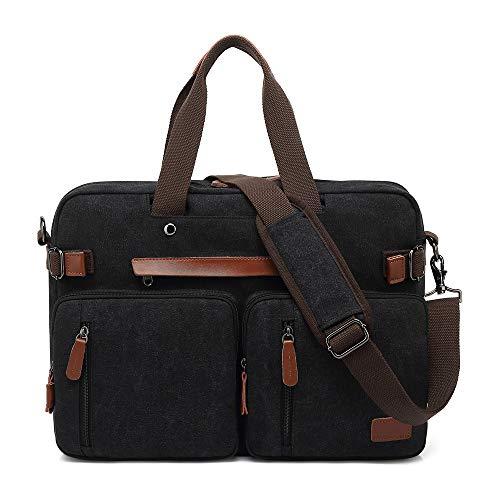 MRPLUM Convertible Backpack Multifunctional Canvas Shoulder Handbags Messenger Bag Laptop Case Fit 15.6-17.3inch Laptop Men/Women (Canvas Black, 15)