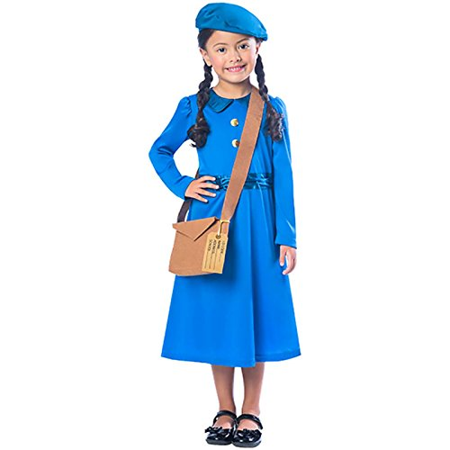 amscan 9901692 Evacuee Girl Costume with Bag and Matching Beret Hat - Age 7-8 Years - 1 PC