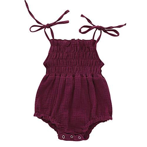 Edjude - Conjunto de ropa de verano para bebés y niñas de 0 a 24 m Rojo rojo vino 6 mes