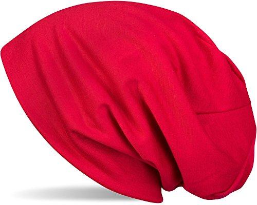 styleBREAKER Klassische Slouch Beanie Mütze, leicht, Unisex 04024018, Farbe:Rot
