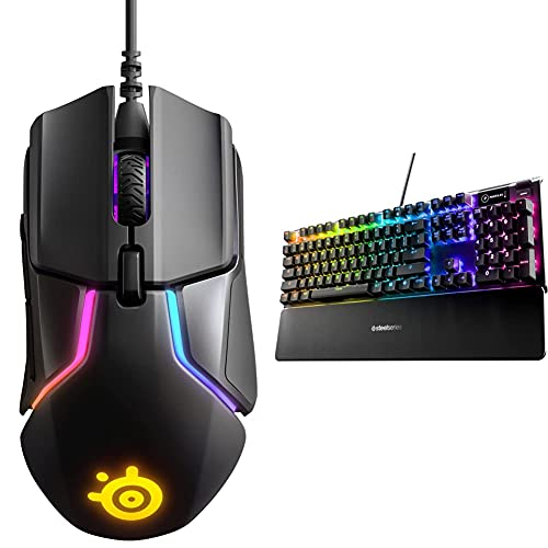 SteelSeries Rival 600 Gaming Mouse – 12,000 CPI TrueMove3Plus Dual Optical Sensor – 0.5 Lift-Off Dis with Apex5Hybrid Mechanical Gaming Keyboard