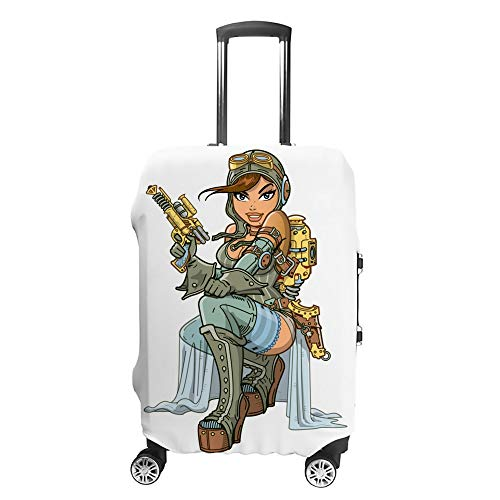 CHEHONG Travel Suitcase Cover Sexy Steampunk Aviator Washable Dustproof Luggage Cover Water Resistant Polyester Fits 18-32 Inch