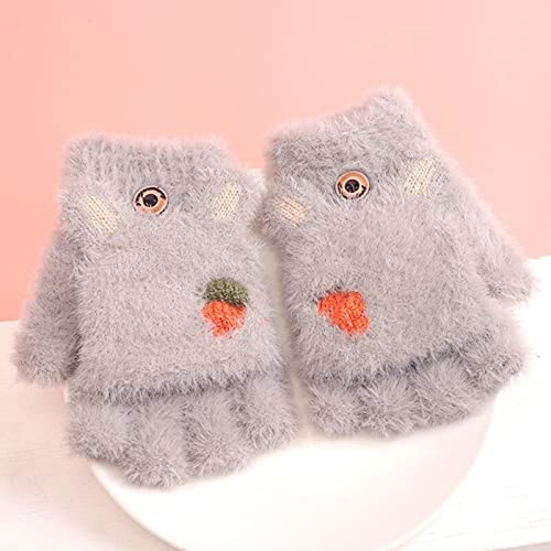 Overlord Knitted Fingerless Gloves, Cartoon Rabbit Ears Mittens, Warm Girl Winter, Half-Finger Gloves Accessories (Color : Gray)