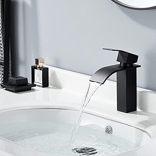 HOMELODY Grifo Lavabo Cascada Negro Agua Fria y Caliente Disponible Grifos de Lavabo de Baño Bajo Nivel de Ruido Mezclador monomando de lavabo con válvula cerámica, Estilo de Moderno