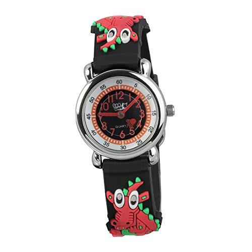 Tee-Wee Kinder Armbanduhr Drache schwarz Kautschuk Quarz Uhr Analog D2UW608S EIN schönes Geschenk zu Weihnachten, Geburtstag, Valentinstag für Kinder