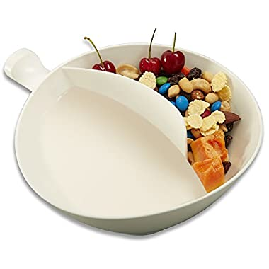MAXFASHION Med White Anti-Soggy Cereal Bowl With Ergonomics Handle Design 'n Grip