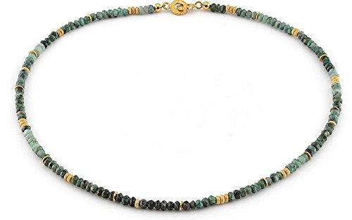 Smaragd Kette (Sterlingsilber 925, vergoldet) Smaragdkette - mit Expertise