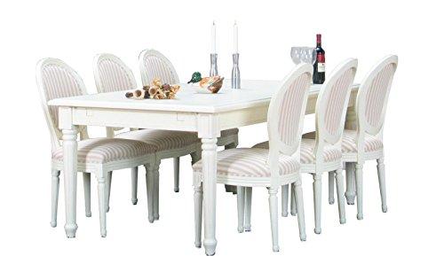 Dynamic24 9tlg. Essgruppe BAROCK Esstisch Sitzgruppe Tischgruppe Erweiterbar massiv weiß
