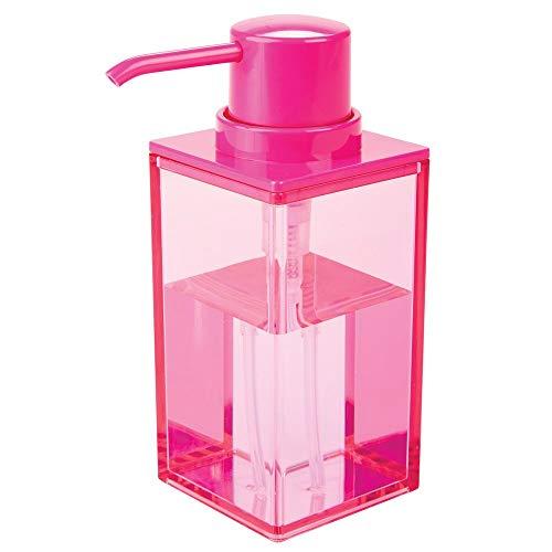 mDesign Dosificador de jabón recargable con aprox. 300 ml de capacidad – Práctico dispensador de jabón líquido de plástico – Elegante dispensador de jabón de manos o loción para el baño – rosa