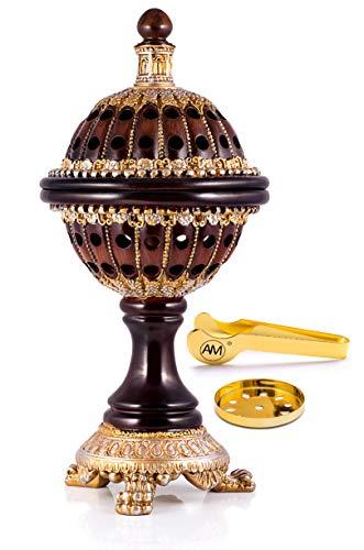 AM Incense Burner Frankincense Resin - Luxury Globe Charcoal Bakhoor Burners for Office & Home Decor (Brown)