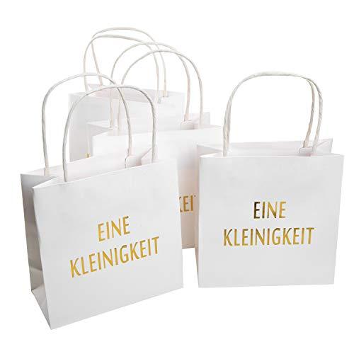 Logbuch-Verlag 4 Papiertüten mit Henkel weiß gold - Geschenktüten als Verpackung für kleine Geschenke - Mitgebseltüte Hochzeit