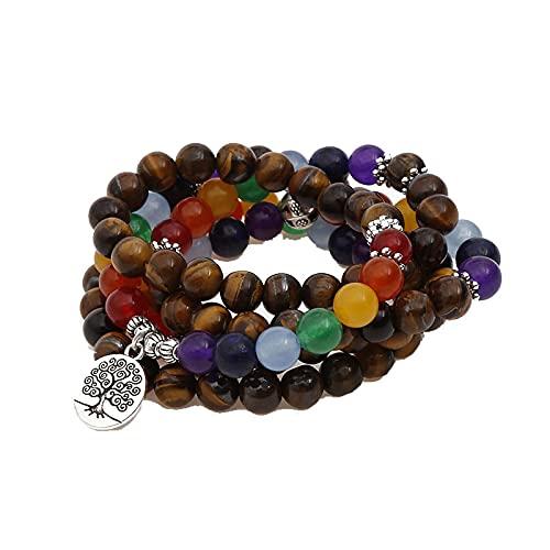 Mujeres Hombres Pulseras 108 Mala Beads Multicolor Piedras Naturales Pulsera Collar Bead 8MM